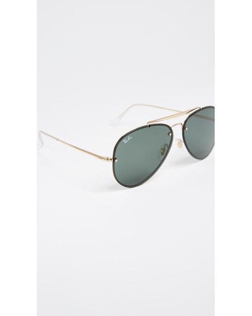 1e787cc83fa Lyst - Ray-Ban Blaze Flat Lens Pilot Aviator Sunglasses