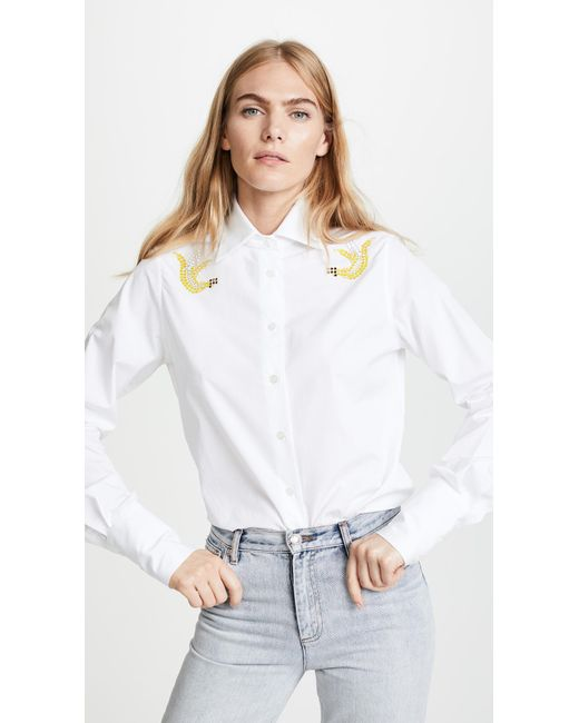 TOME | White Eco Classic Shirt With Swarovski Crystals | Lyst
