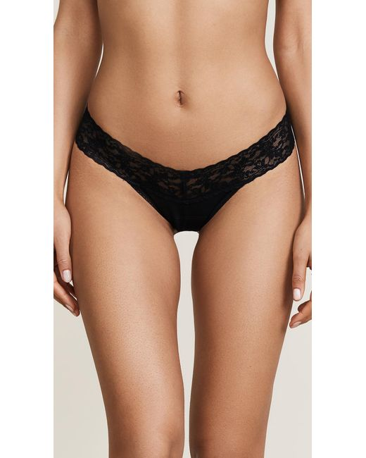 Hanky Panky Cotton With A Conscience Petite Low Rise Thong - Black