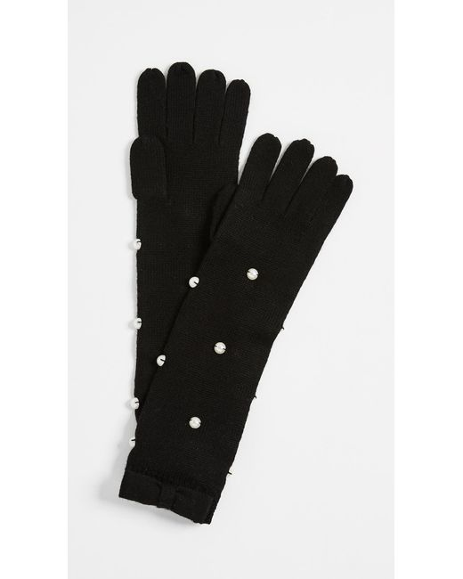 Kate Spade | Black Imitation Pearl Gloves | Lyst