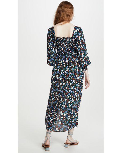 Rixo Blue Marie Midi-dress