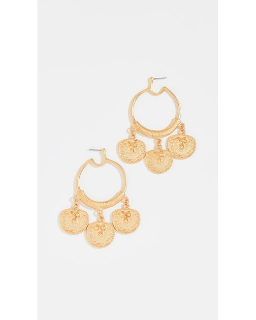 Kenneth Jay Lane - Metallic Coin Drop Hoop Earrings - Lyst