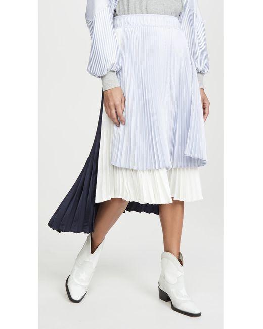 CLU Blue Colorblock Pleated Skirt