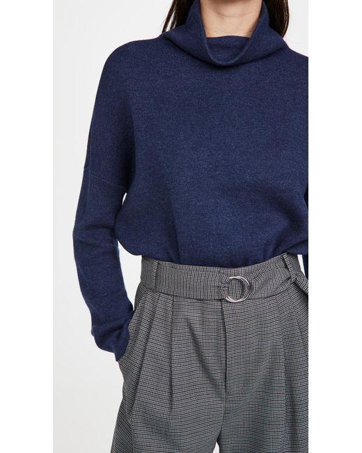 Vince Blue Funnel Neck Pullover