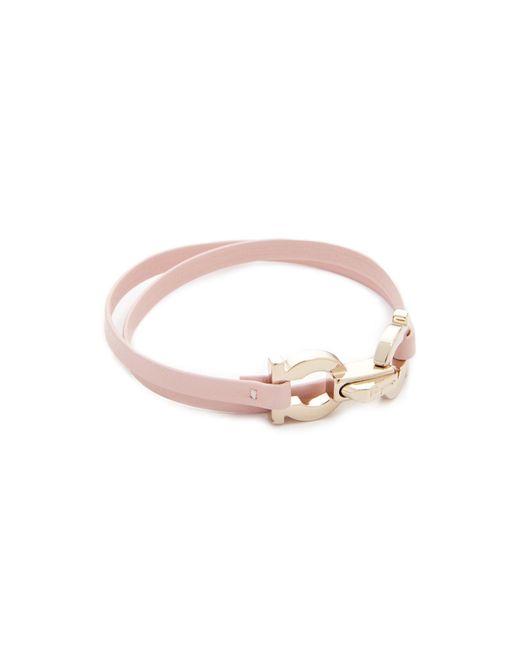 Ferragamo - Pink Double Gancio Wrap Bracelet - Lyst