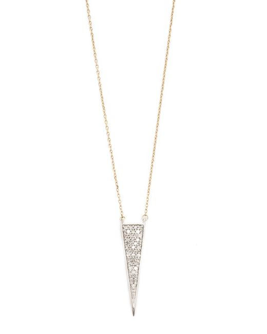 Adina Reyter   Metallic Long Solid Pave Triangle Necklace   Lyst