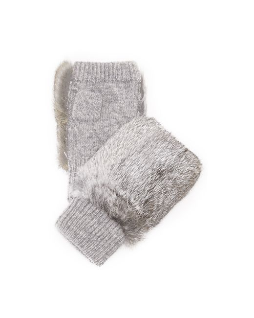 Adrienne Landau | Gray Knit Fingerless Mittens With Fur Trim | Lyst