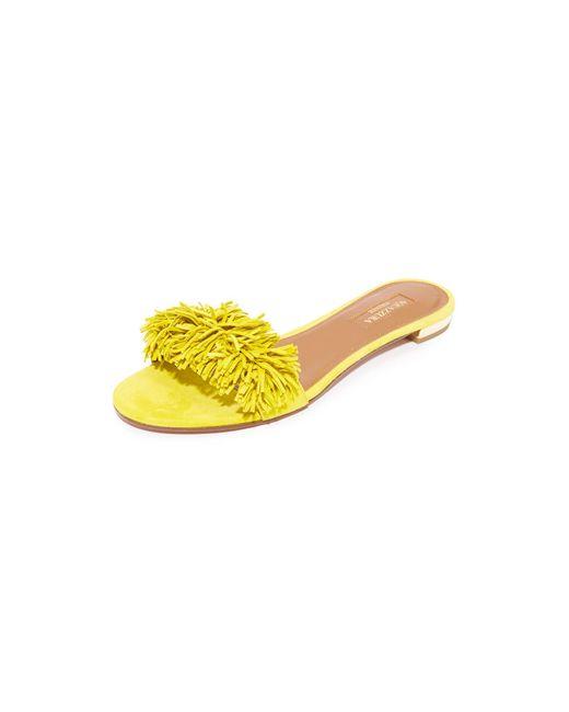 Aquazzura | Yellow Wild Thing Fringed Slide Sandal | Lyst