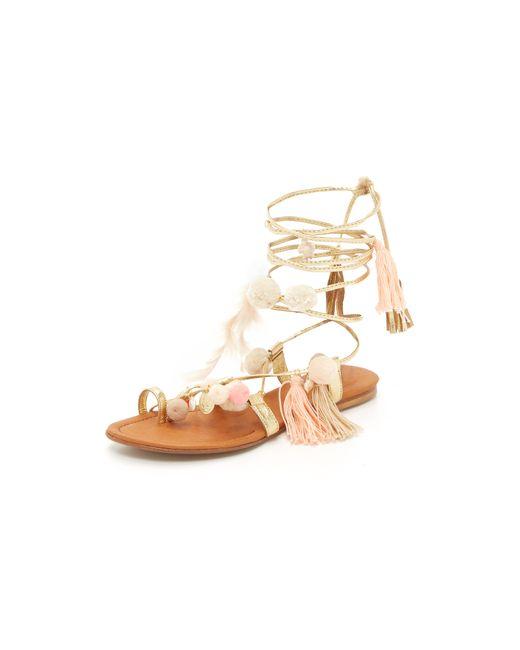 Alameda turquesa Aurora Leather Sandals in Gold (Light ...