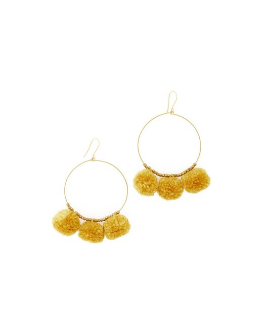 Chan Luu | Metallic Pom Pom Hoop Earrings | Lyst