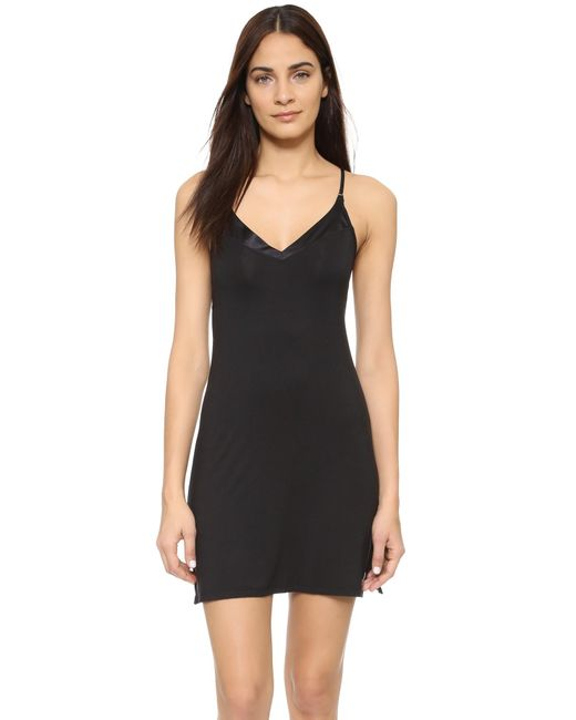 Calvin Klein | Black Essentials With Satin V Neck Chemise | Lyst