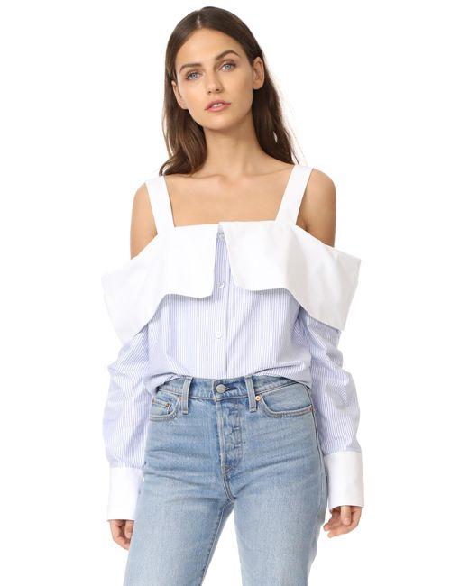 CLU | Blue Off The Shoulder Shirt | Lyst