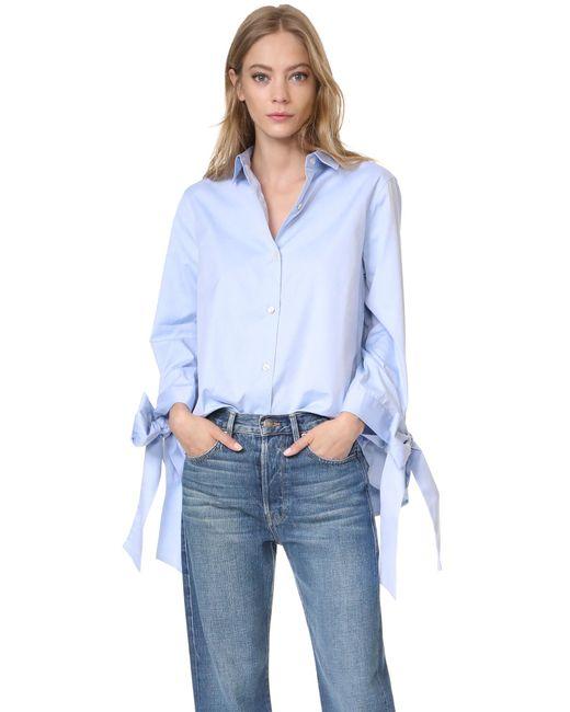 CLU | Blue Bow Tie Cuff Shirt | Lyst