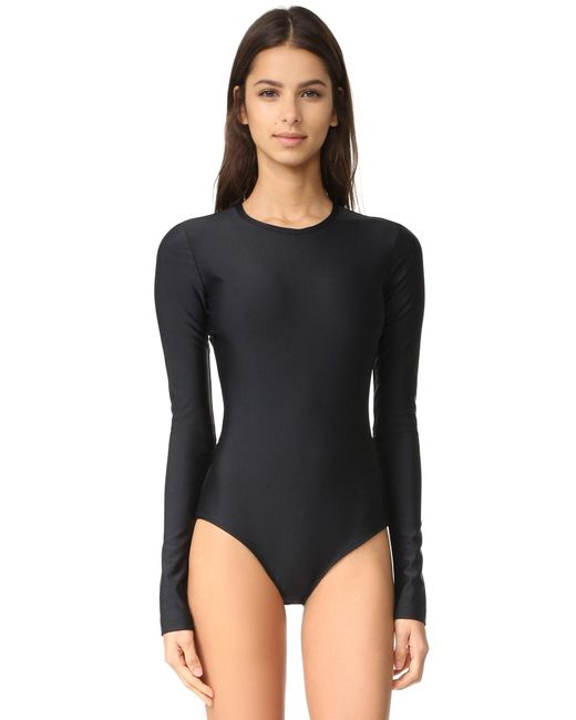 Cover Long Sleeve Swimsuit in Black | Lyst