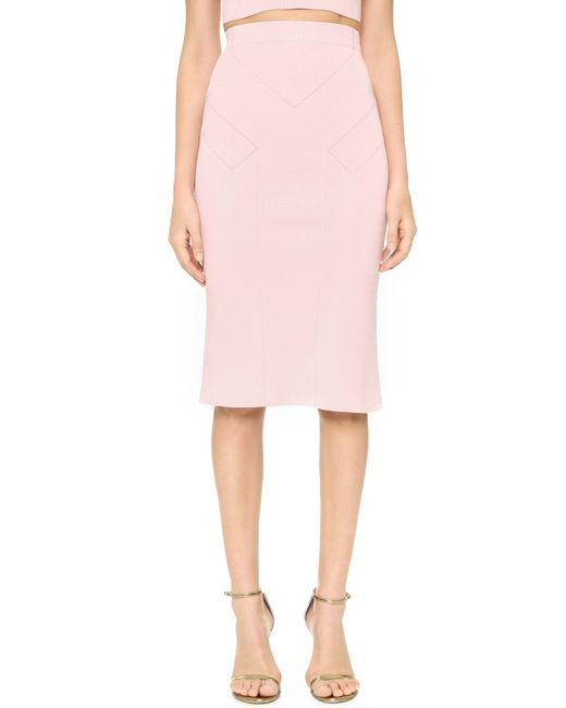 cushnie et ochs high waisted pencil skirt in pink light
