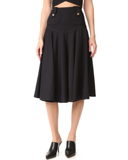 derek lam flared midi skirt in black lyst