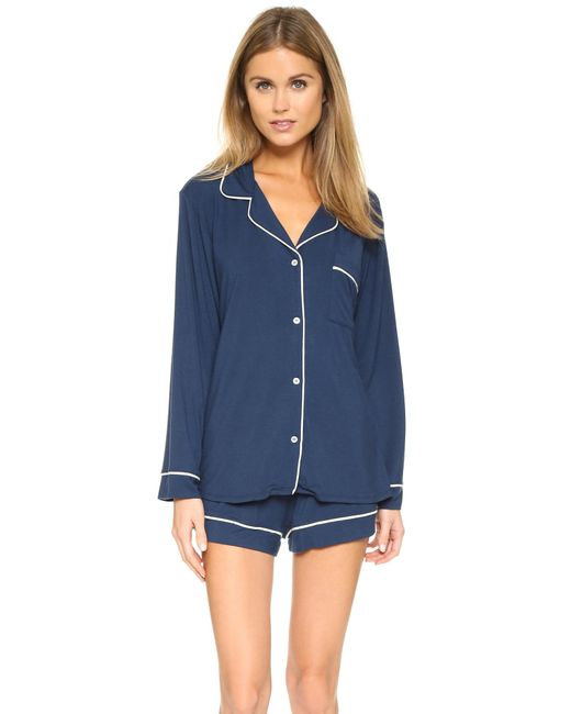 Eberjey | Blue Gisele Long Sleeve Pajama Set | Lyst