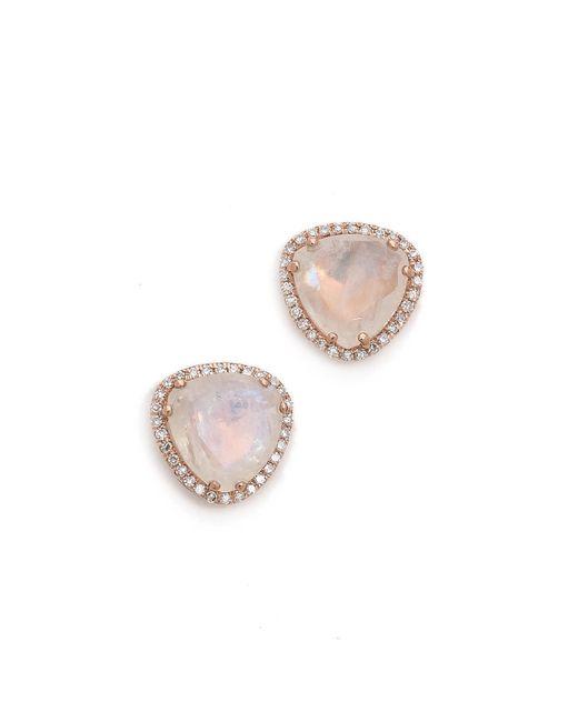 EF Collection | Metallic Diamond Stone Slice Stud Earrings | Lyst