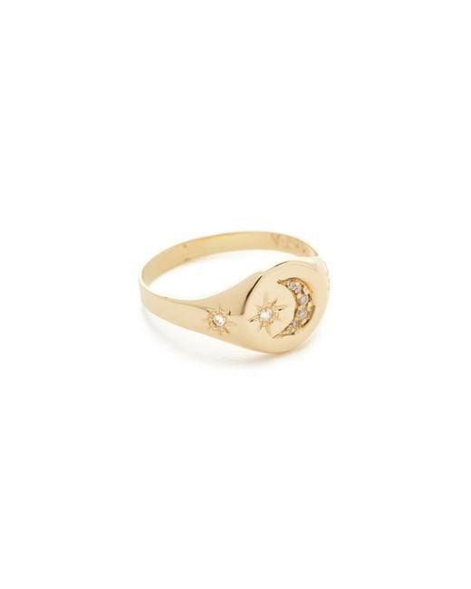 Jacquie Aiche | Metallic Crescent Star Signet Ring | Lyst