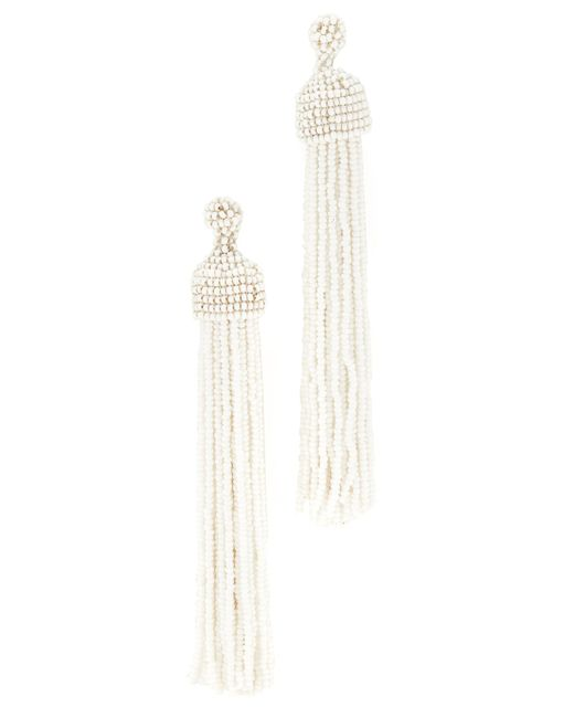 Kenneth Jay Lane   White Tassel Earrings   Lyst