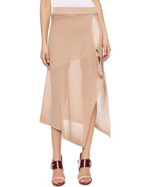 marques almeida high waisted ribbed skirt in beige lyst