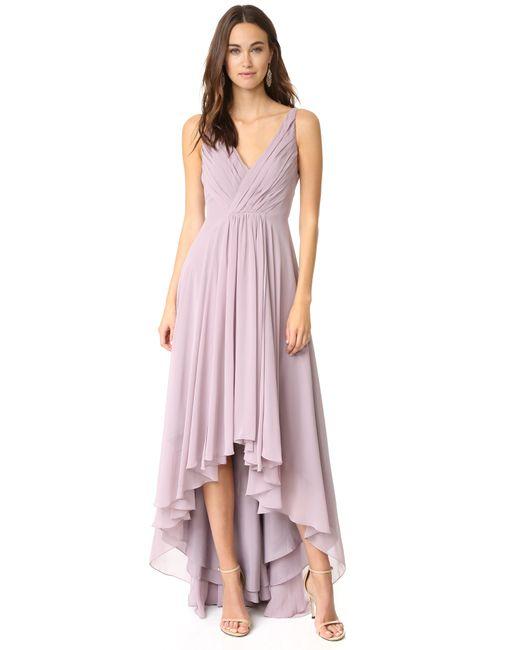 Monique Lhuillier Bridesmaids | Black High Low Chiffon Gown | Lyst