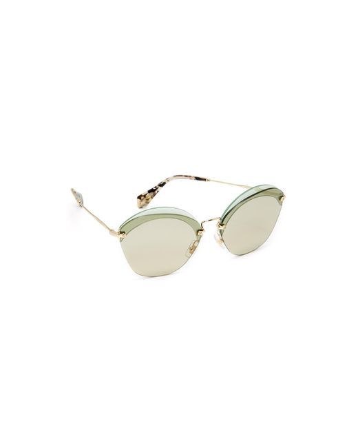 Miu Miu | Brown Overlapping Sunglasses | Lyst