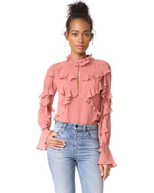 Nicholas | Pink Ruffle Layered Blouse | Lyst