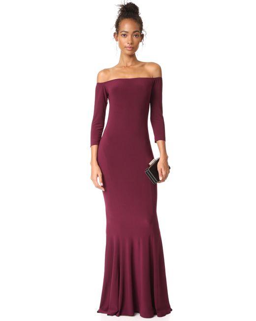 Norma Kamali | Purple Off Shoulder Fishtail Gown | Lyst