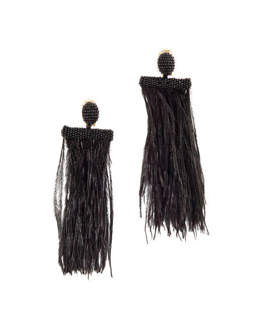 Oscar de la Renta | Black Feather Tassel Clip On Earrings | Lyst