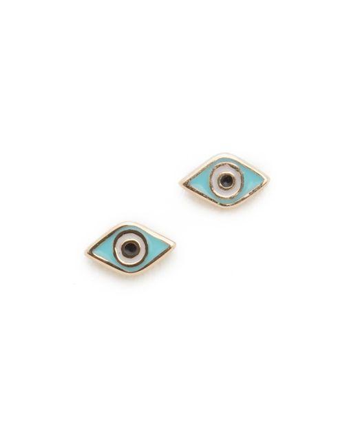 Sydney Evan | Metallic Mini Evil Eye Studs | Lyst
