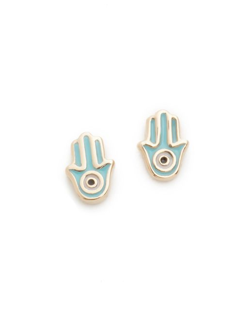 Sydney Evan | Metallic Mini Hamsa Stud Earrings | Lyst
