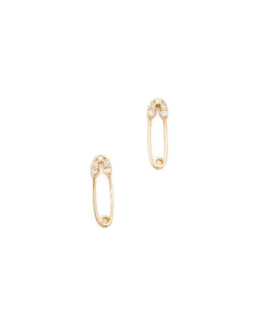 Sydney Evan | Metallic Safety Pin Stud Earrings | Lyst