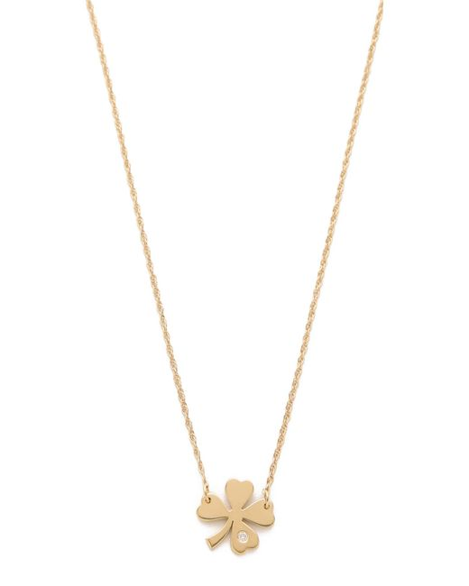 Jennifer Zeuner | Metallic Clover Necklace With Diamond | Lyst