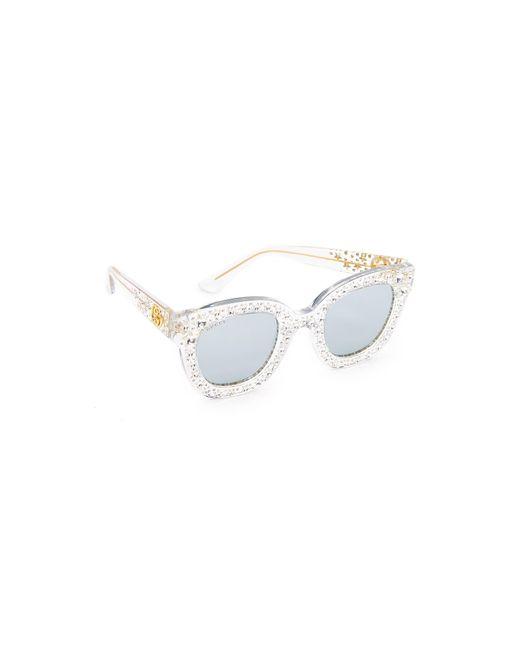 Gucci Metallic Swarovski Crystal Square Sunglasses