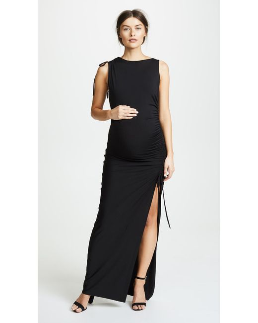 Susana Monaco - Black Gathered Slit Maxi Dress - Lyst