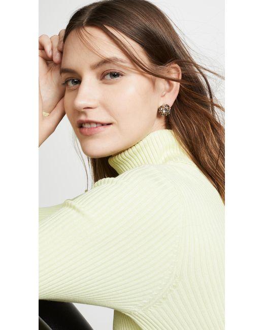 Oscar de la Renta Multicolor Classic Button Earrings