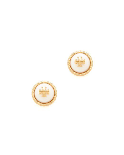Tory Burch | Metallic Rope Imitation Pearl Stud Earrings | Lyst