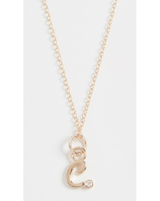Alison Lou Metallic 14k Diamond Bezel Letter Necklace