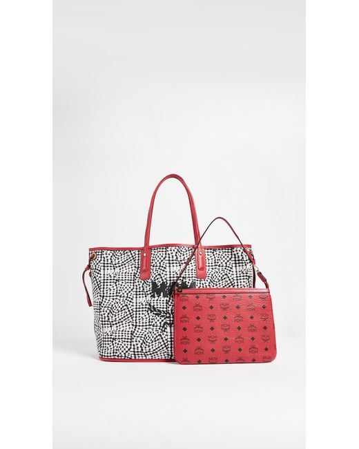 mcm large liz shopper tote in red lyst. Black Bedroom Furniture Sets. Home Design Ideas