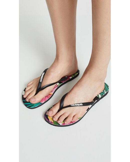 47eb768aee8 Women's Black Slim Tropical Floral Flip Flops