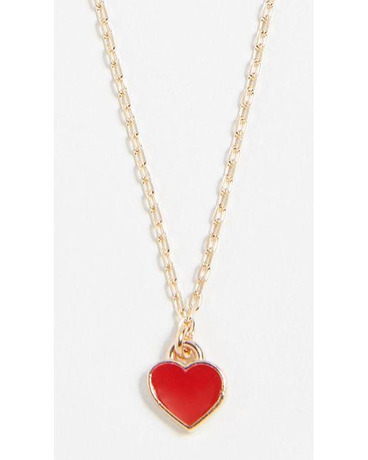 Shashi - Red Enamel Heart Necklace - Lyst
