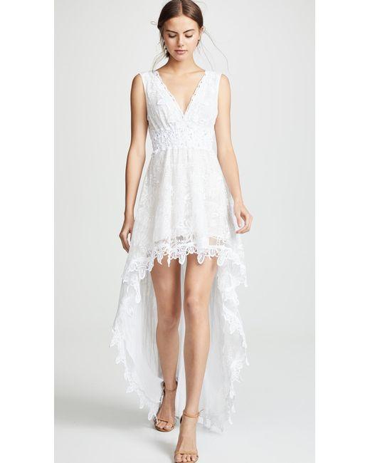 735c644d0aef ... Temptation Positano - White Prato High Low V Neck Dress - Lyst ...