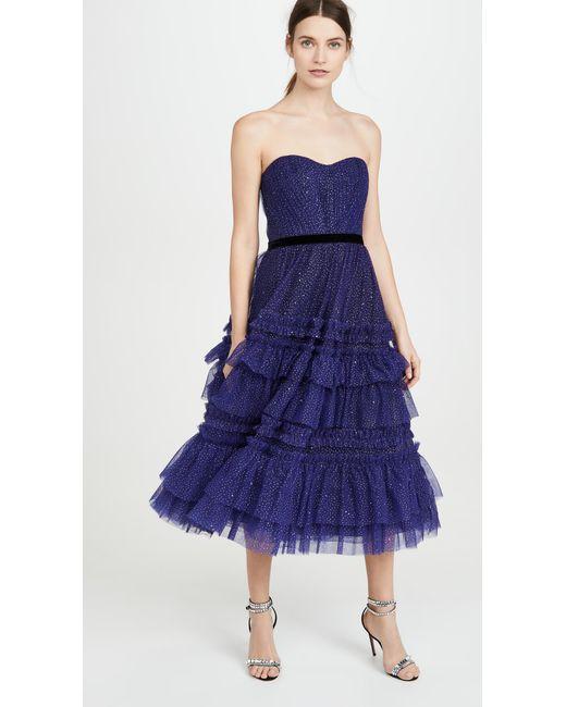 Marchesa notte Blue Glitter Tulle Strapless Tea-length Gown