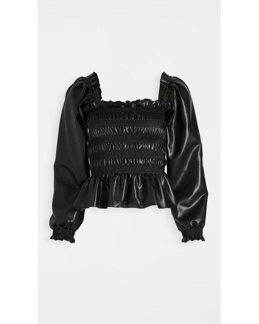 Philosophy Di Lorenzo Serafini Black Faux Leather Blouse