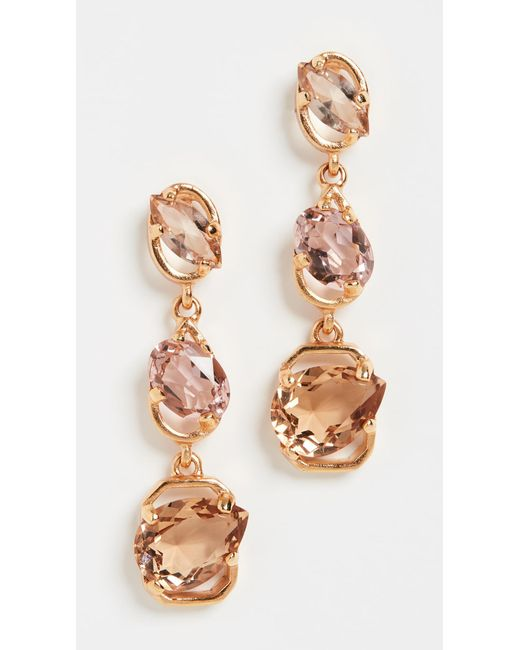 Oscar de la Renta Multicolor Crystal Offset Long Stone Earrings