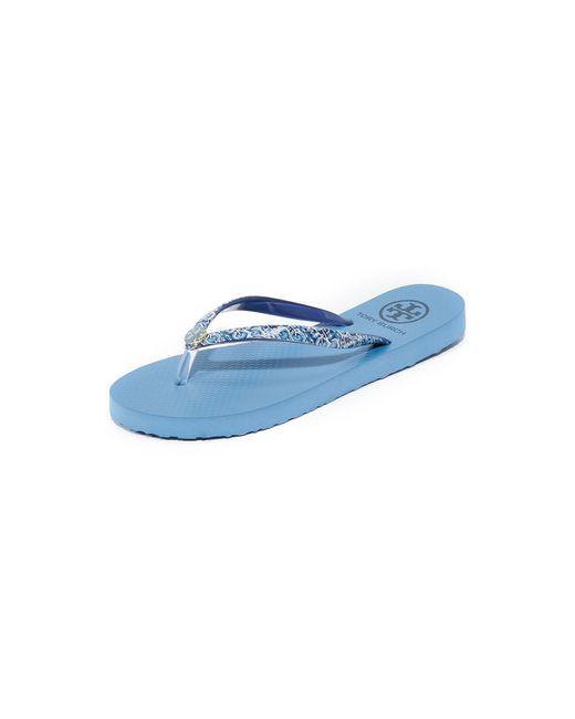 Tory Burch   Blue Thin Flip Flops   Lyst