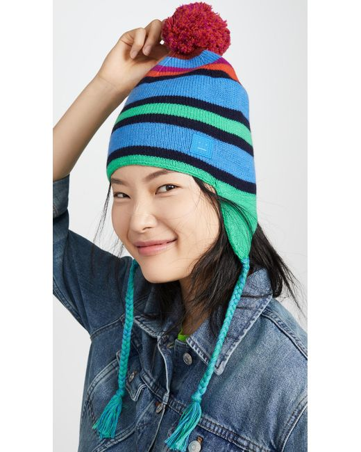 Acne Blue Multi Stripe Face Hat