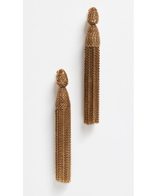 Oscar de la Renta - Brown Long Chain Tassel Earrings - Lyst