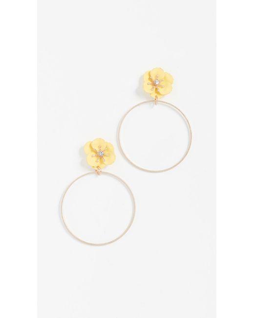 Shashi - Yellow Flower Hoop Earrings - Lyst